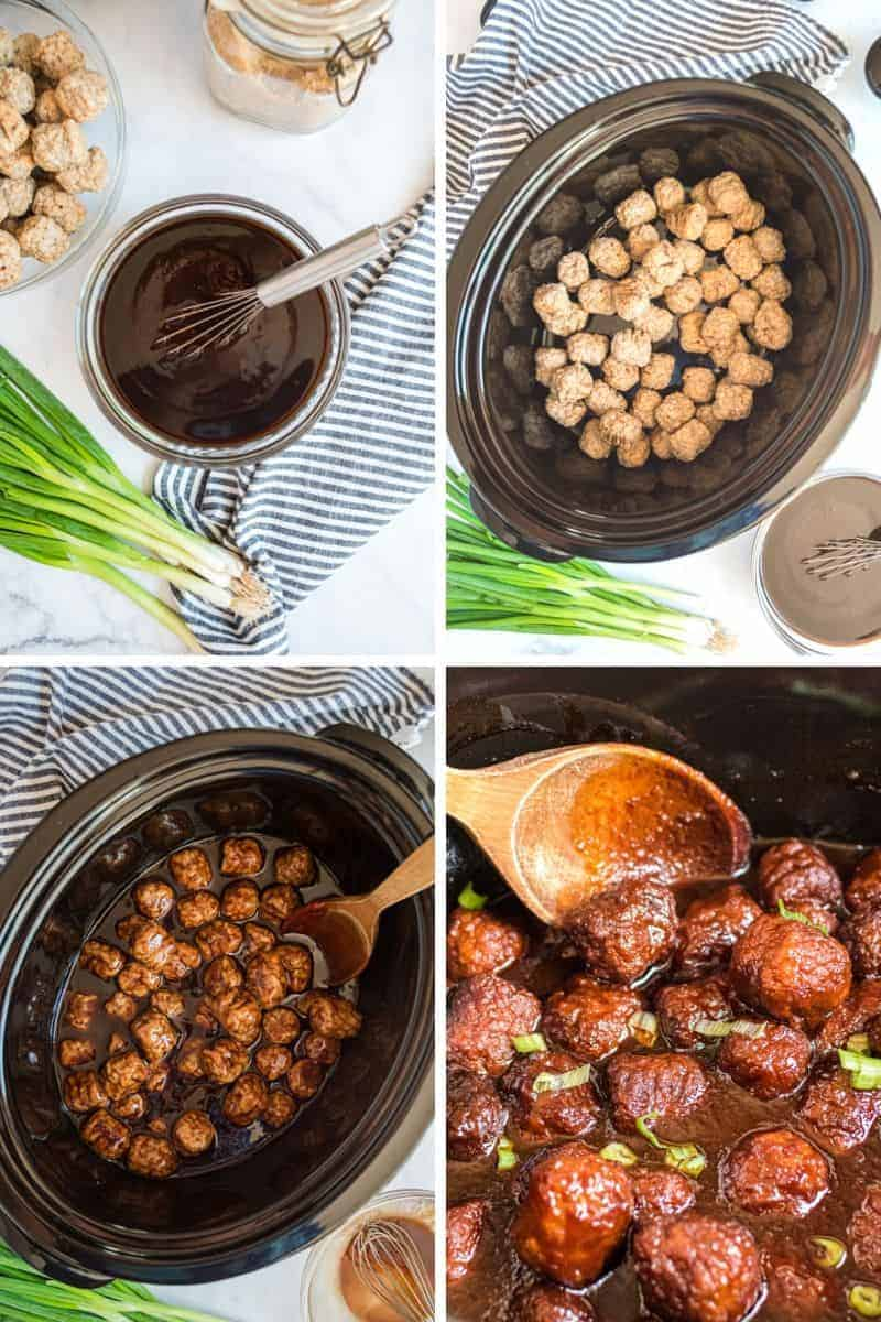 mixing sauce, and adding meatballs in crockpot