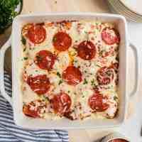 bubble pizza in casserole dish