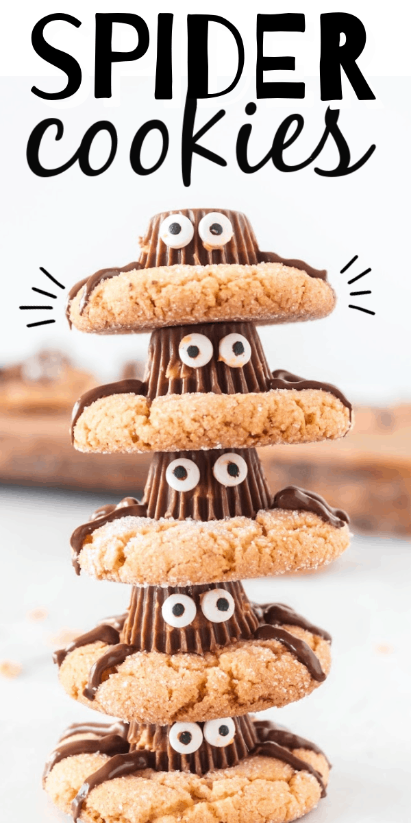 These spider cookies are chewy peanut butter cookies with a Reese's peanut butter cup on top, chocolate legs, and googly eyes! So cute. They're a perfect, easy treat for Halloween.