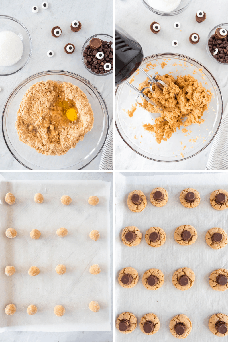 stir ingredients, form into balls, add Reese's cups