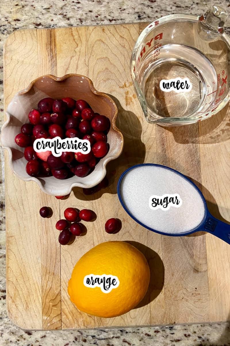 cranberry sauce ingredients: cranberries, orange, water, sugar