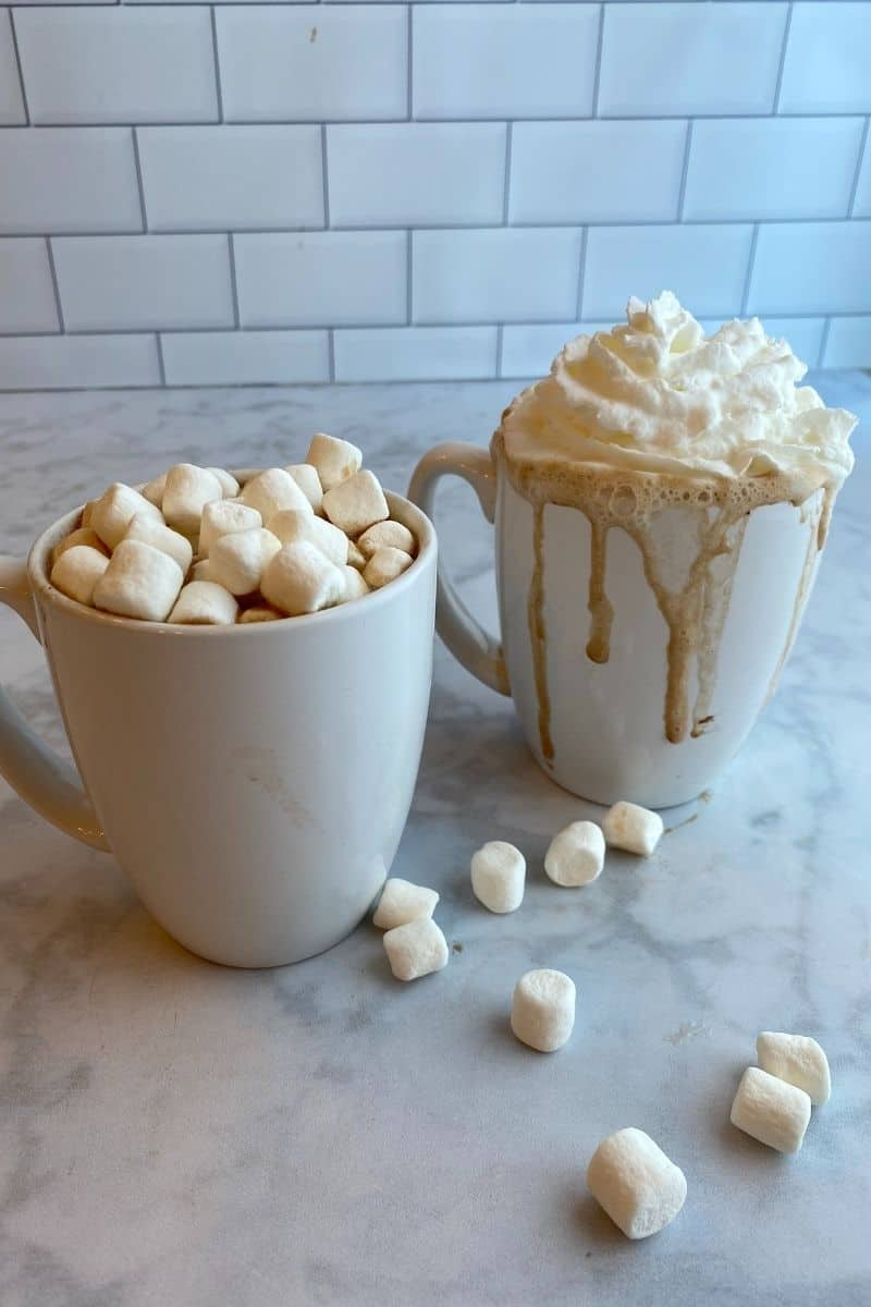 Two white mugs with hot chocolate. One is topped with whipped cream, the other with mini marshmallows.