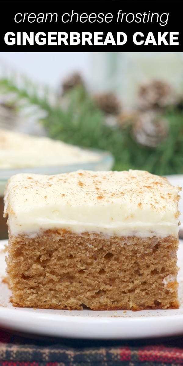 This gingerbread sheet cake is made with a touch of molasses and the holiday flavors of cinnamon, ginger, nutmeg, and cloves. It's topped with a buttery cream cheese frosting and added cinnamon! Tastes like Christmas!