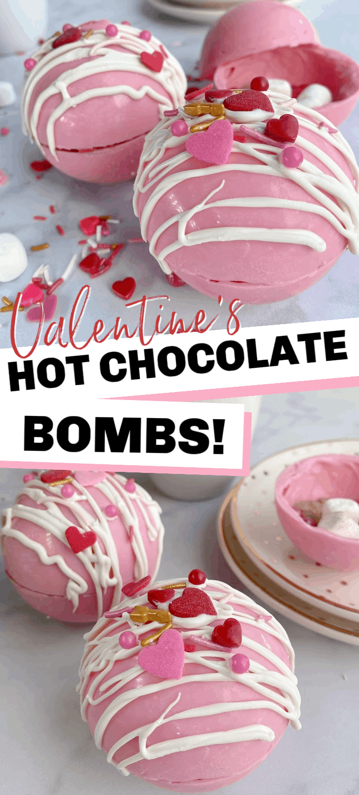Make these sweet hot chocolate bombs for Valentine's Day. These pink chocolate shells are filled with cocoa, mini marshmallows, and Valentine's sprinkles!
