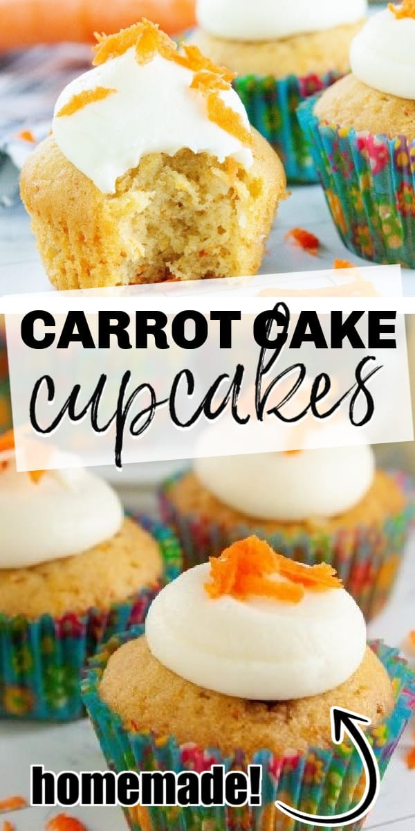 Carrot cake cupcakes are fluffy and moist, filled with carrots and pineapples. Topped with the perfect cream cheese frosting, these are the perfect treat.
