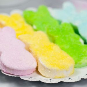 pastel colored bunny peeps on plate