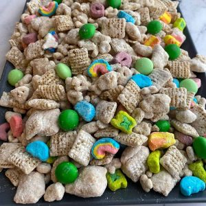 close up of Lucky Charms cereal muddy buddies