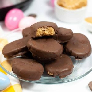 stacked peanut butter eggs