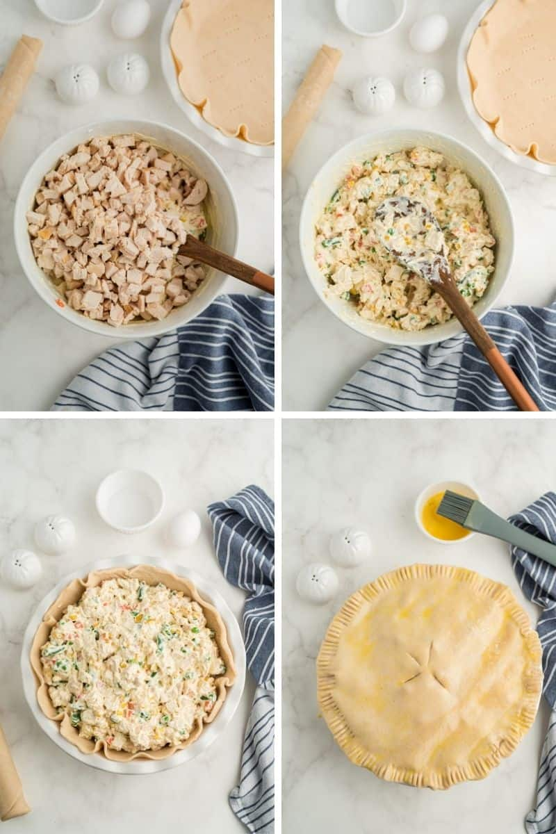 four steps: add chicken, mix together, chicken mixture in pie shell, covered with pie dough with four slits and an egg wash on top