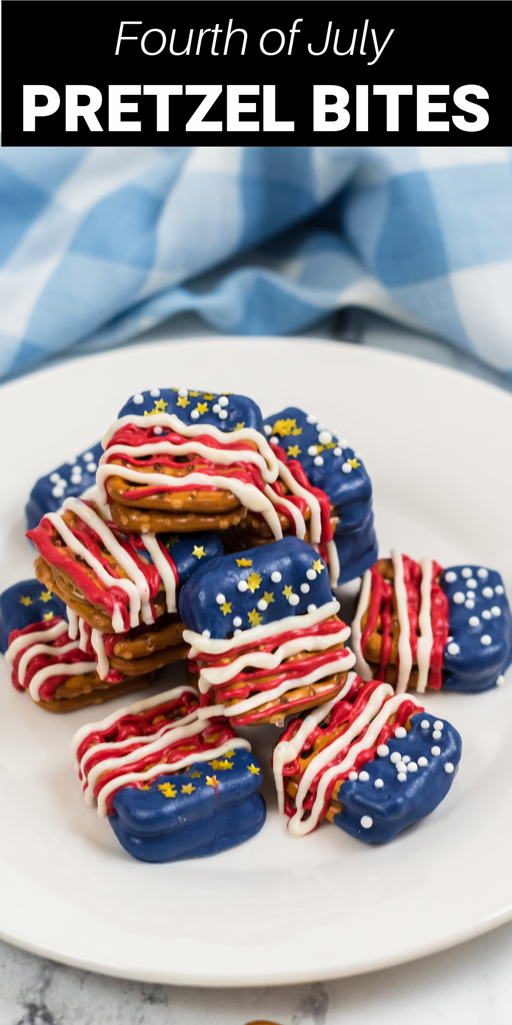 Fourth of July pretzel bites are patriotic treat that are so easy to make with pretzels, caramels, and chocolate! These sweet and salty treats are perfect for Memorial Day, Fourth of July, and Labor Day!