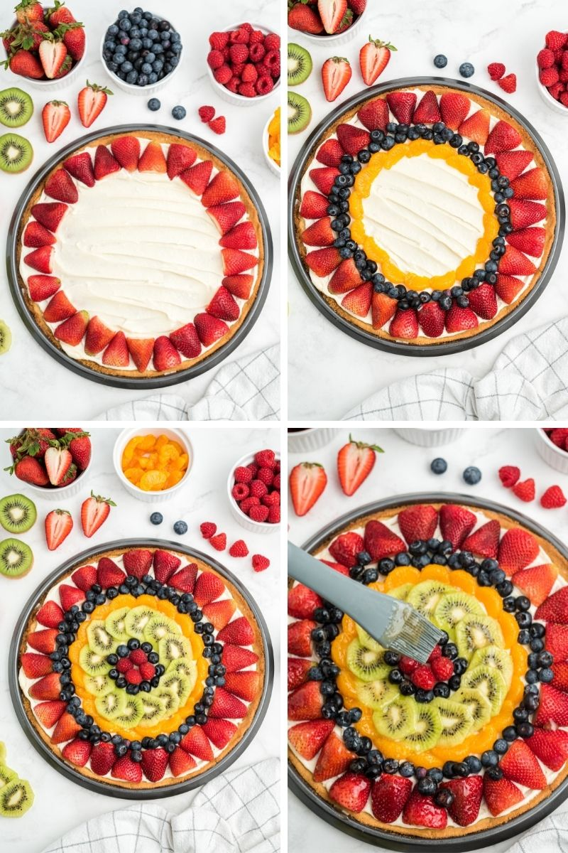 four process photos: frosted cookie with strawberries on the edge; added blueberries and mandarin oranges; added kiwi, blueberries and raspberries in the middle; spreading glaze on top
