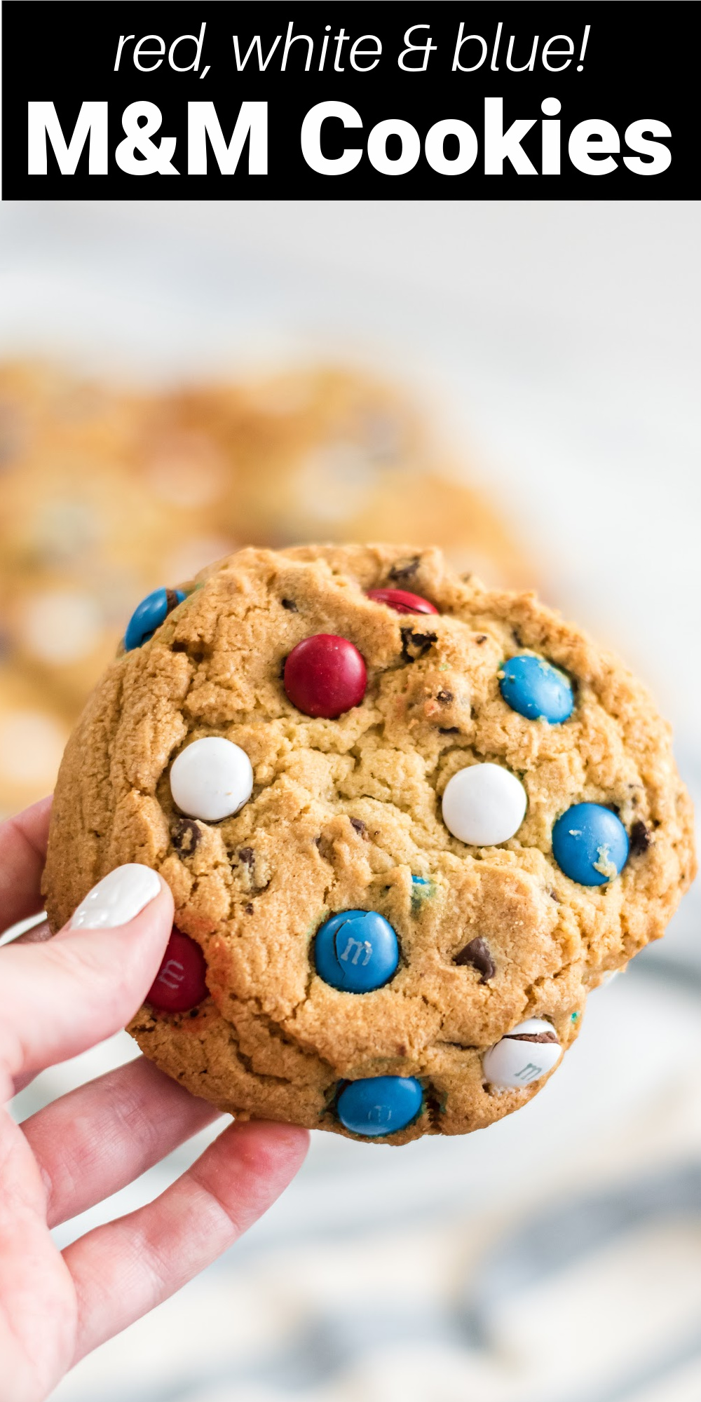 These patriotic chocolate chip cookies are perfect chocolate chip cookies for Memorial Day and the Fourth of July. They're packed with chocolate chips and red, white, and blue M&Ms to make the perfect patriotic dessert for your summer barbeque, potluck, or family gathering!