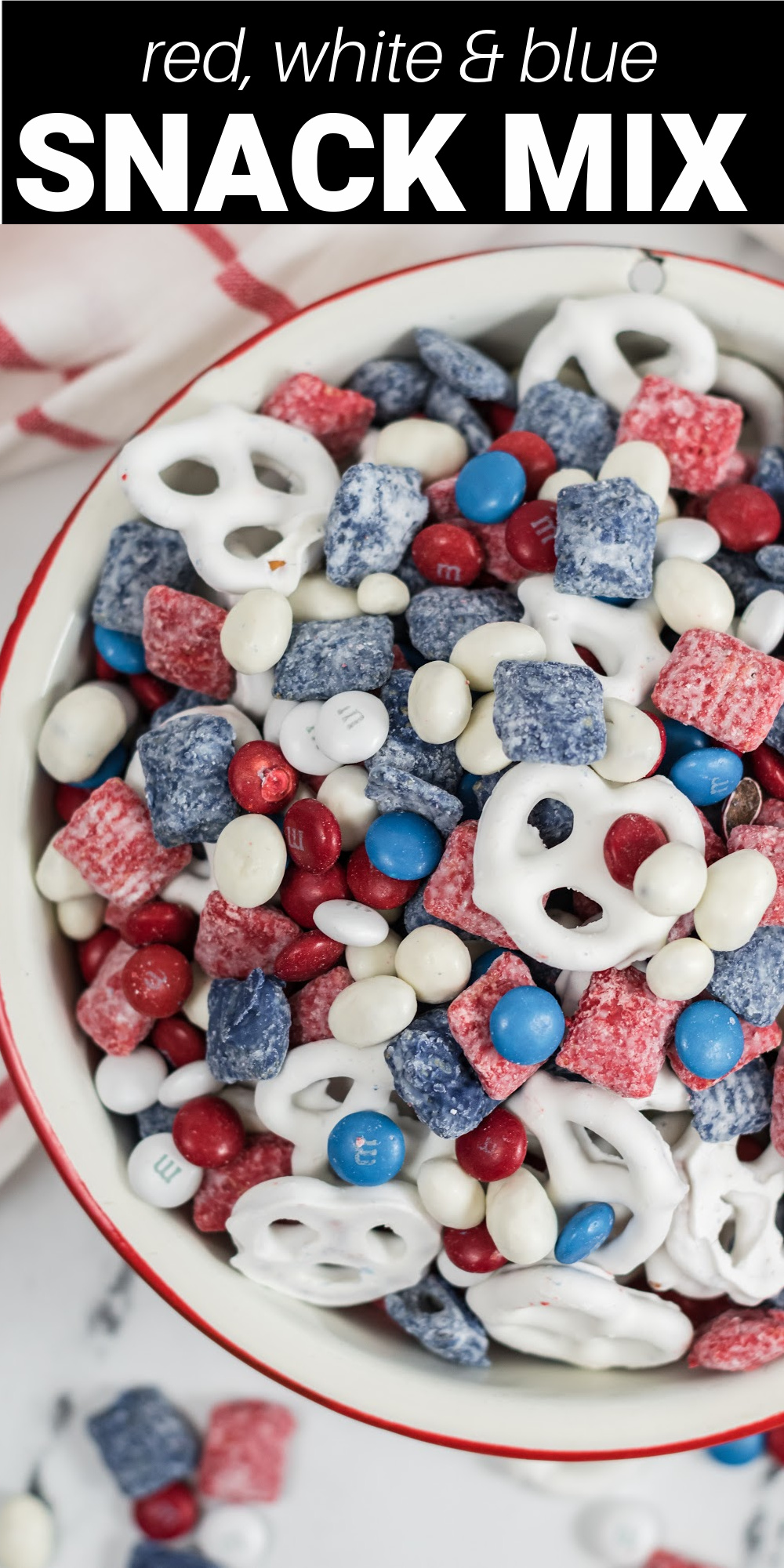 Red, white, and blue snack mix is an addictive sweet and salty treat perfect for summer snacking! It's a fun dish to bring to a potluck, picnic, or gathering for Memorial Day, Fourth of July, and Labor Day!