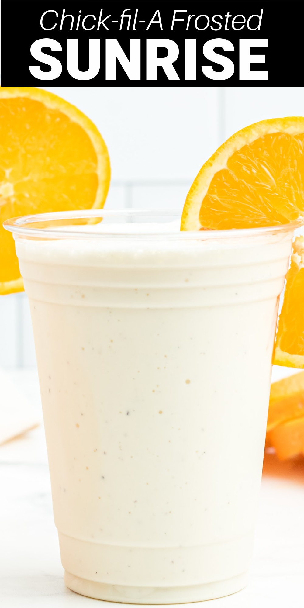 This copycat Chick-Fil-A Frosted Sunrise drink is a perfect creamy orange milkshake for a hot summer day. It's similar to Chick-fil-A's Frosted Lemonade just with fresh orange flavor!