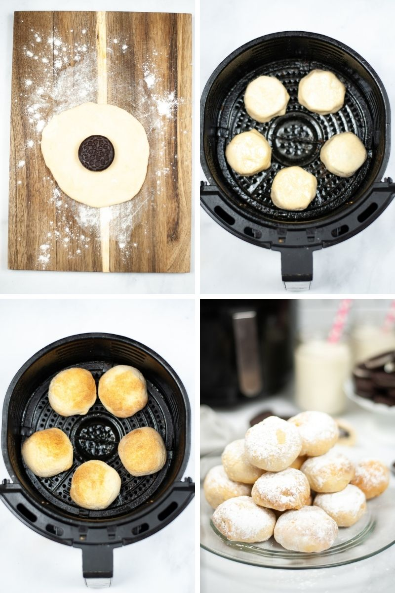 Oreo on flat biscuit; 5 doughs in air fryer; golden brown dough; finished fried oreos stacked on plate with powdered sugar