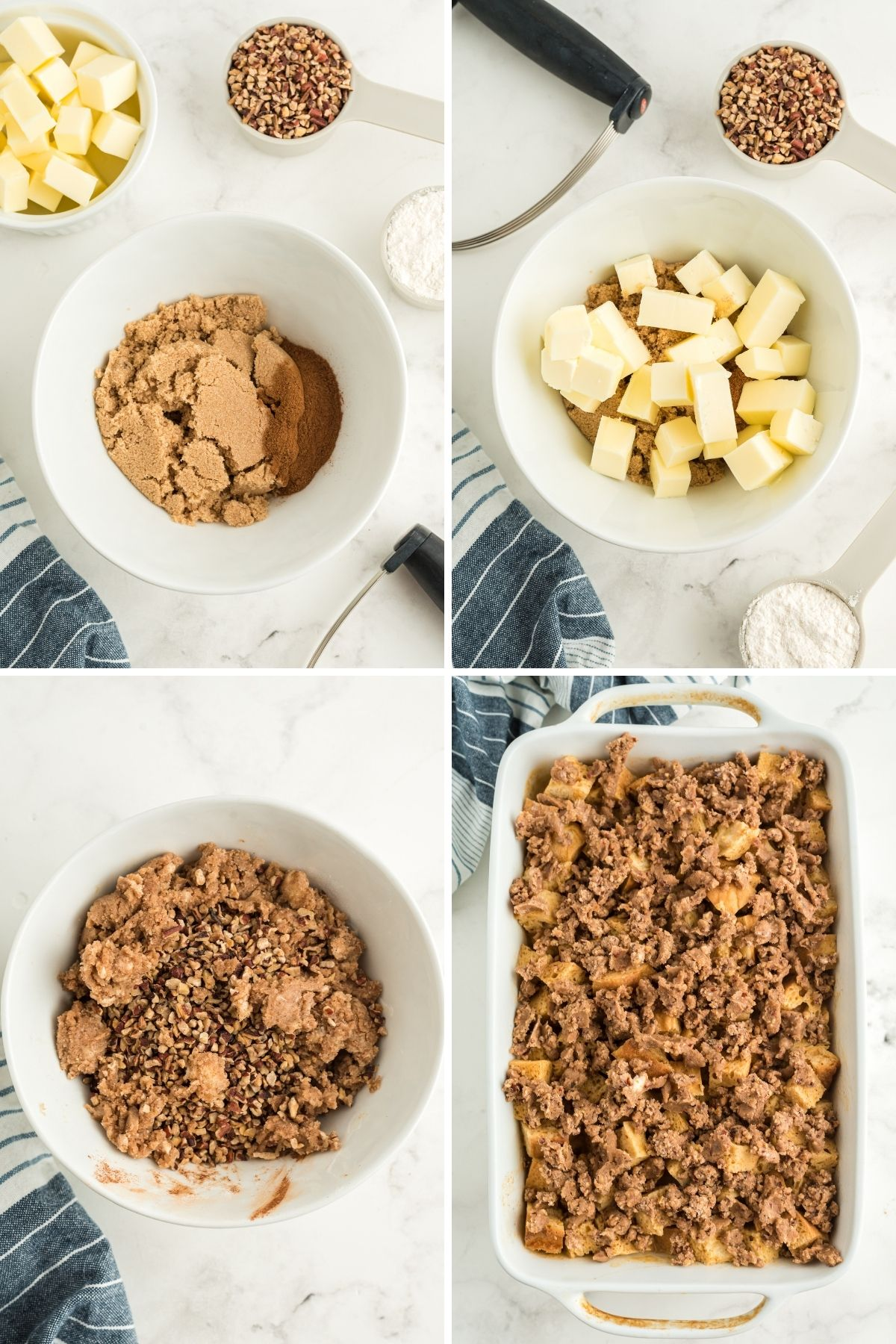 four photos: brown sugar, pumpkin pie spice in bowl with cubed butter in bowl, and chopped nuts; cubed butter on top of sugar mixture; brown sugar and butter is mixed together; mixture is added on top of cubed bread in white casserole dish