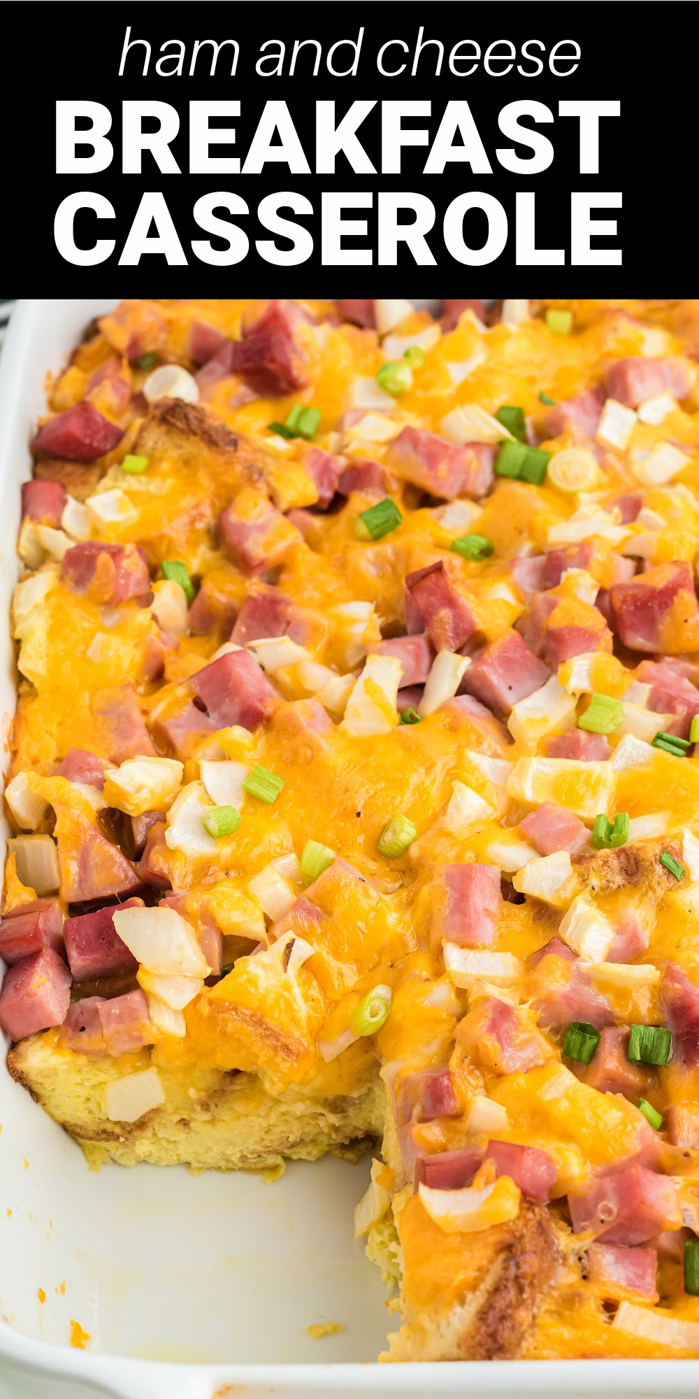 This Ham and Cheese Breakfast Casserole is a comforting flavor-packed breakfast casserole for the entire family to enjoy! Starting with a base of soft white bread, delicious ham and melted cheese are suspended in a creamy egg filling and baked until golden brown.