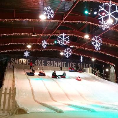 The kids agreed, the best tubing in #OrangeCounty is at @winterfestoc, #SnowflakeSummit #IceSlide sponsored #WinterFestOC