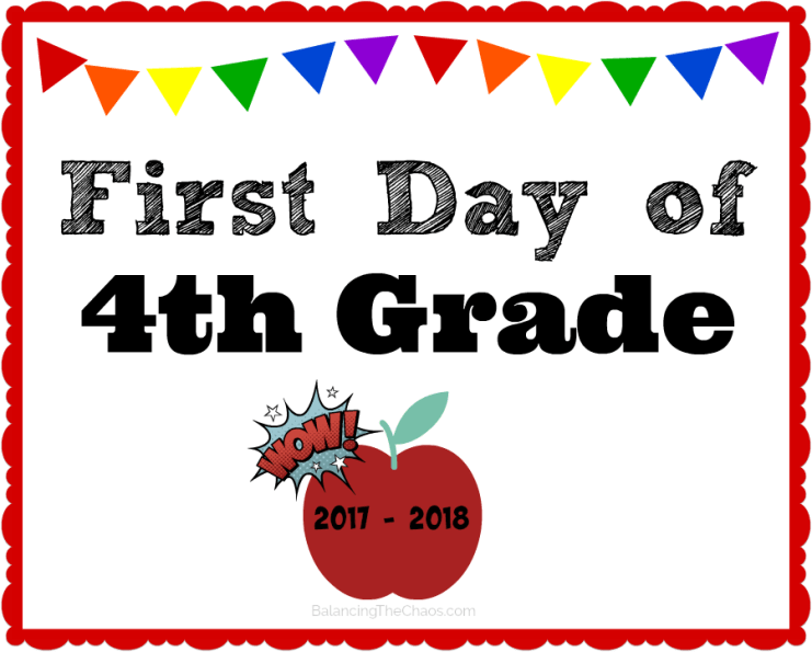 free printable 4th grade back to school sign 2017 2018