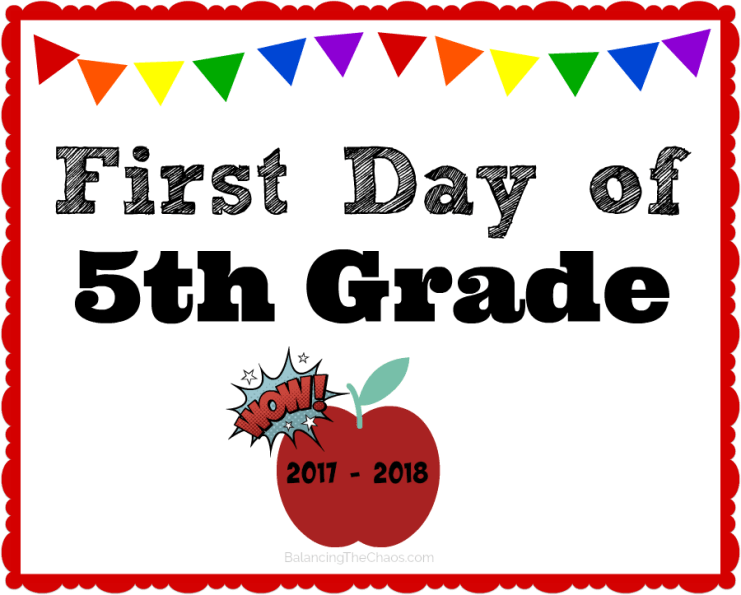 5th Grade Back to school sign 2017 2018