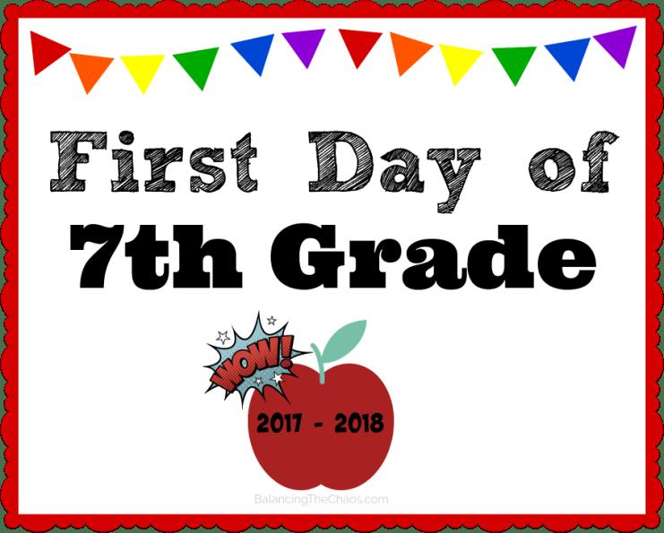 7th Grade Back To School Free Printable 2017 2018