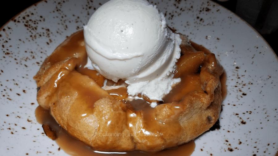 Lazy Dog Desserts Peach Pie with Raspberry Compote and Vanilla Ice Cream