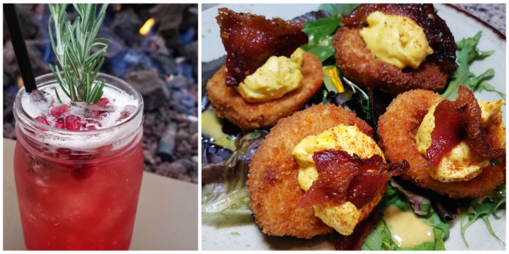 Pomegranate Punch and Crispy Deviled Eggs from Lazy Dog Fall Menu