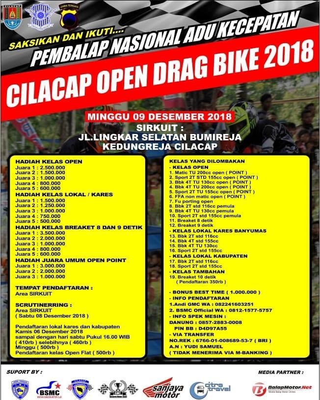 Agenda Balap: Cilacap Open Drag Bike 9 Desember 2018