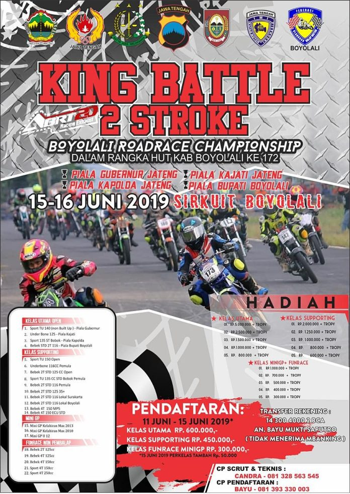 Agenda Balap: King Battle 2 Stroke Boyolali Open Road Race Championship 15-16 Juni 2019