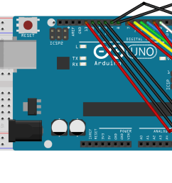 breadboard view of arduino uno and led matrix made with fritzing  [ 1755 x 771 Pixel ]