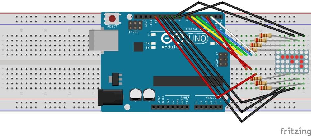 medium resolution of breadboard view of arduino uno and led matrix made with fritzing
