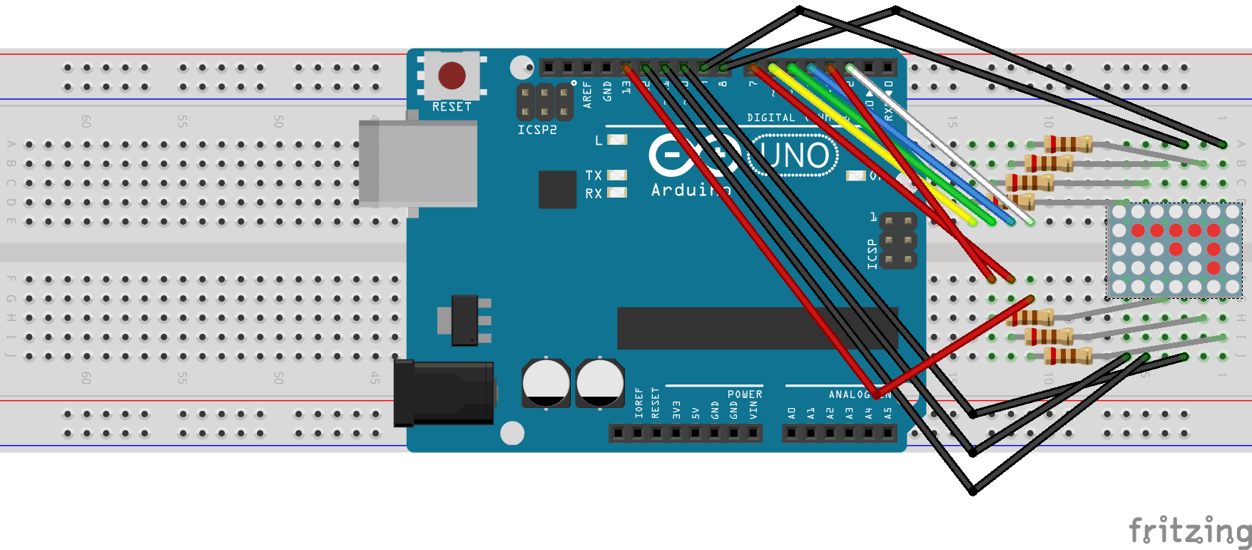 hight resolution of breadboard view of arduino uno and led matrix made with fritzing