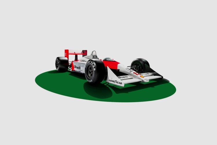 Carro de corrida inclinado com o motor do Ayrton Senna .