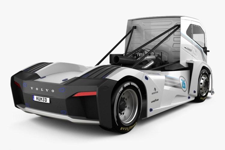 caminhão mais rápido do mundo visto de costas