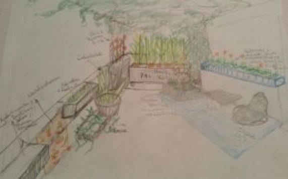 Balkongrün Vision der balconybotanista. Gezeichnete Skizze des Balkons