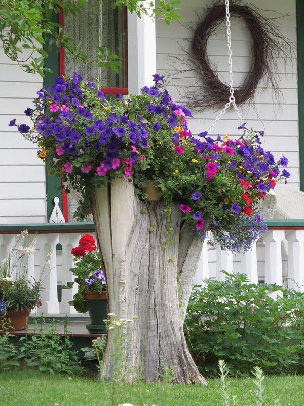 19 Blazing Tree Stump Planter Ideas That'll Impress You Balcony