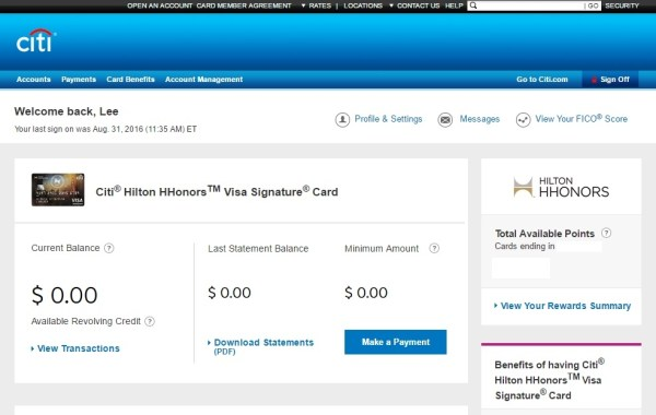 Citibank Hilton Reserve status of spend requirements