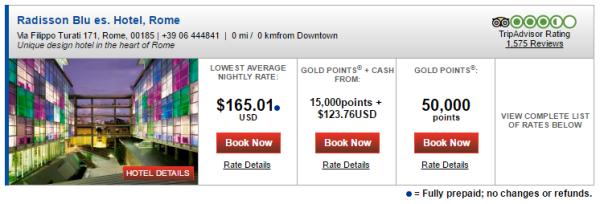 Radisson Blu es Hotel Rome prices
