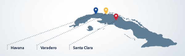 Southwest Cuba service map August 2016