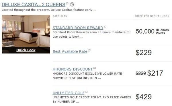 Waldorf Astoria La Quinta Resort Deluxe Casita prices October 2016