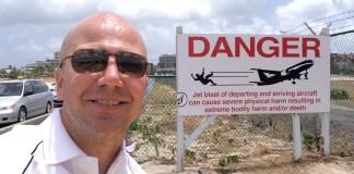 St Maarten Maho Beach warning sign