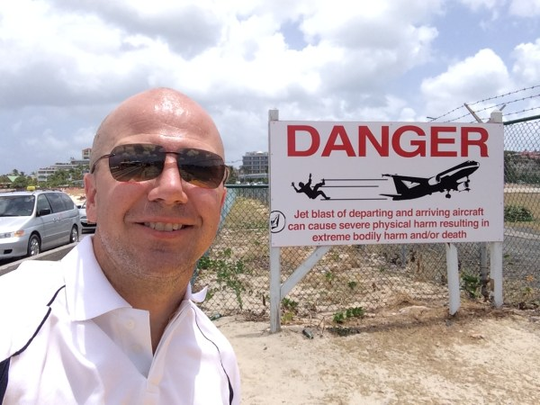 St Maarten Maho Beach warning sign