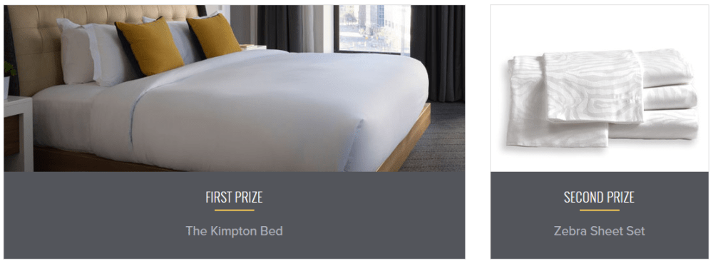 Kimpton Sweepstakes First and Second prize