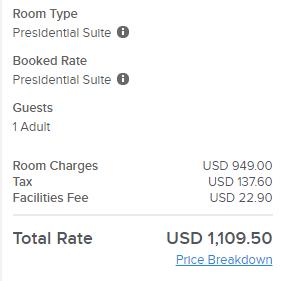 Kimpton Donovan Hotel Presidential Suite price