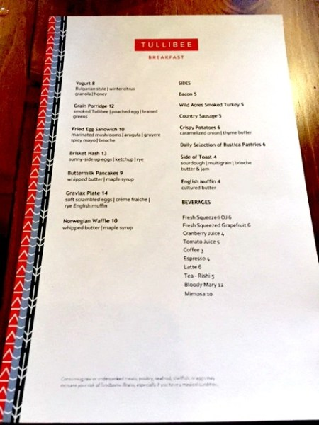 The Hewing Hotel Tullibee menu