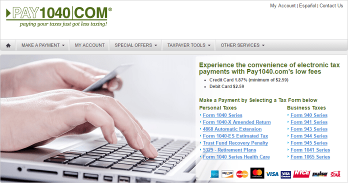 Pay1040.com home page pay taxes with credit card