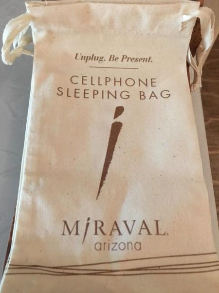 Hyatt Miraval Resort cell phone sleeping bag