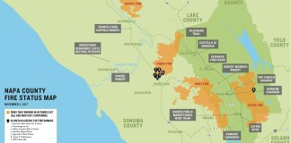Napa County fire status map wineries