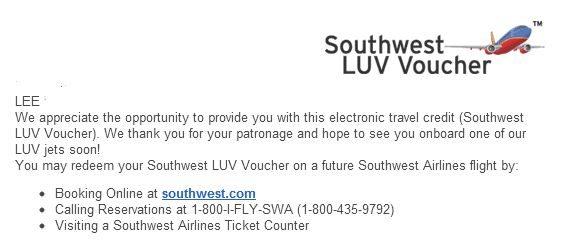 southwest airlines luv voucher