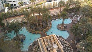 Hilton Grand Vacations Suites on the Las Vegas Strip pool aerial